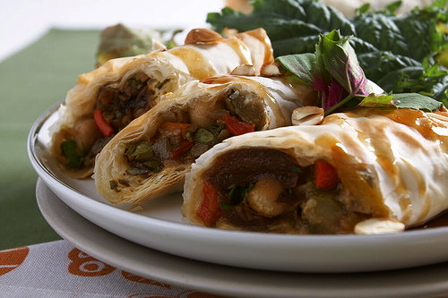 """Moroccan Chickpea Vegetable Phyllo Rolls with Balsamic Maple Sauce (from """"eat, drink & be vegan"""")"""