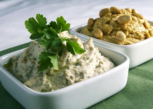 White Bean Hummus with Fresh Thyme & Basil; Peanut Sesame Hummus