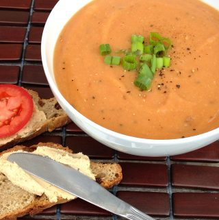 Tomato Lentil Soup with Cumin and Fresh Dill (vegan, gluten-free, nut-free, oil-free)