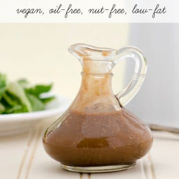 YES, this salad dressing is oil-free, low-fat, nut-free, vegan... AND delicious! Magical Applesauce Vinaigrette plantpoweredkitchen.com #vegan