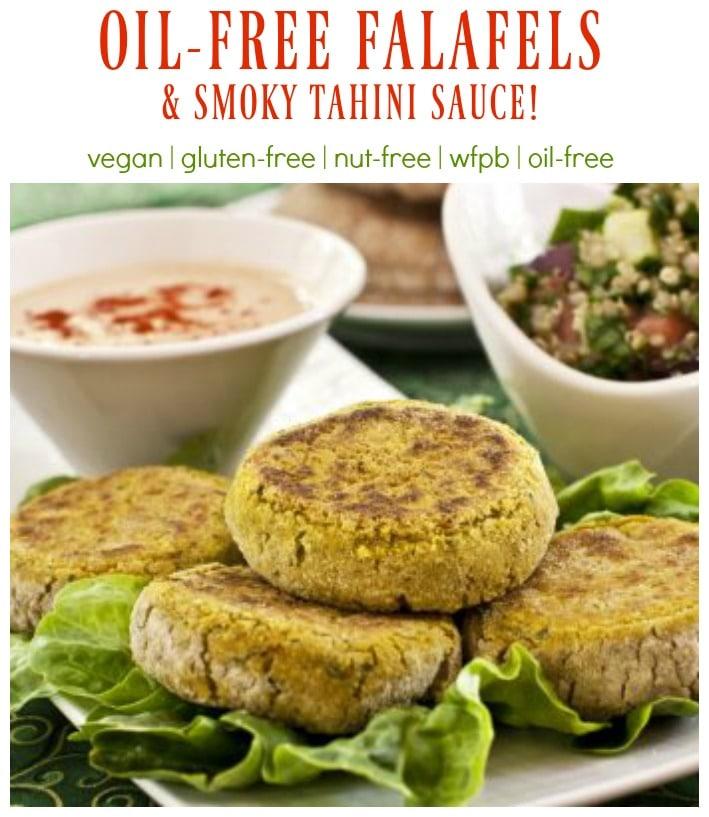 DELICIOUS! Oil-Free Falafels & Smoky Tahini Sauce #vegan #glutenfree #oilfree #wfpb #plantbased #nutfree #falafels #tahini #recipe #dreenaburton