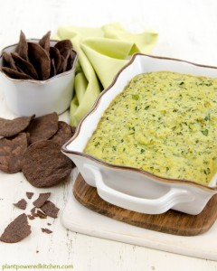 A creamy vegan artichoke dip made withOUT vegan cheese substitutes, all whole foods! Artichoke Spinach Dip - by Dreena Burton, Plant-Powered Kitchen #vegan #glutenfree