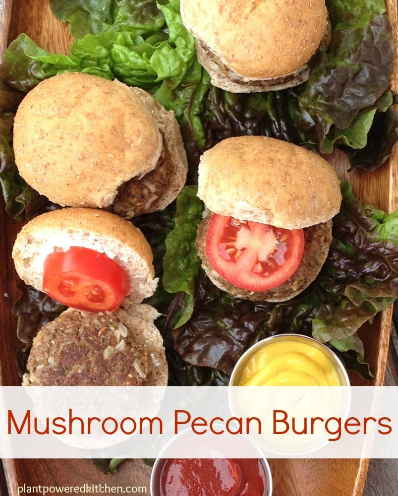 Mushroom Pecan Burgers #vegan #burger #recipe #healthy #mushrooms #plantbased #meatlessmonday www.plantpoweredkitchen.com