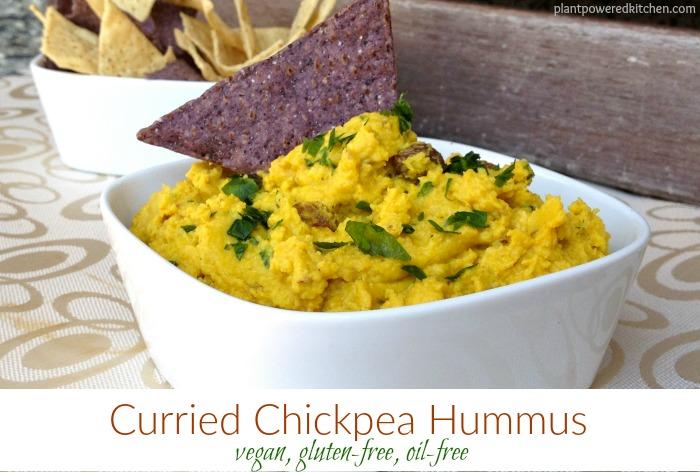 Curried Chickpea Hummus #vegan #glutenfree #oilfree #hummus #recipe #healthy #food #plantbased www.plantpoweredkitchen.com