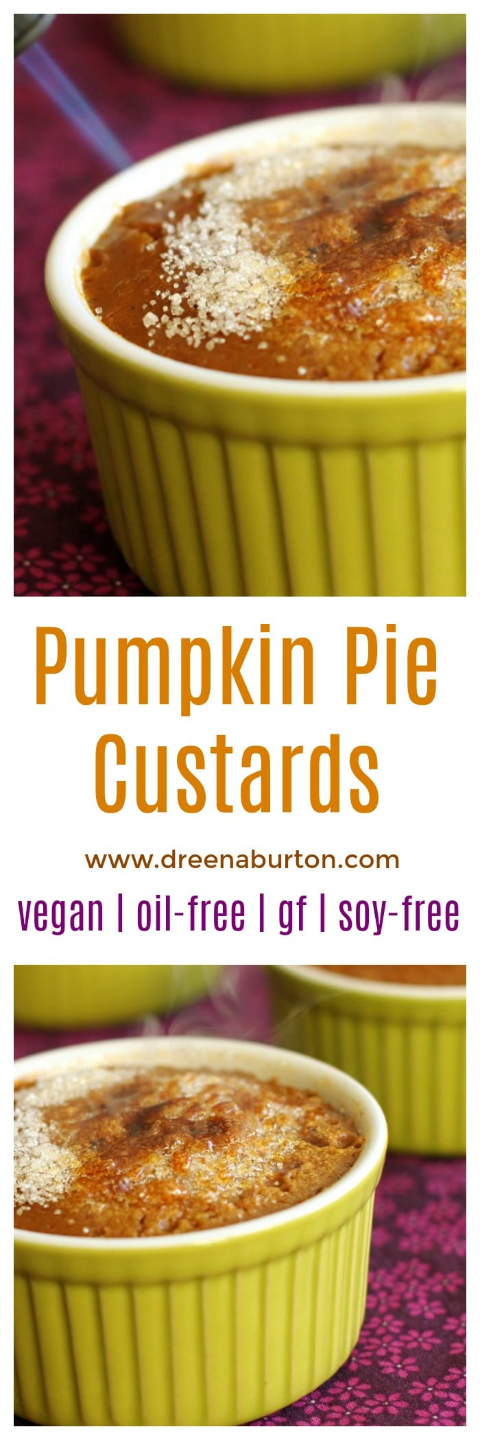 DIVINE! Impressive but EASY! Pumpkin Pie Custards - dairy-free, vegan, gluten-free, oil-free, and soy-free! | pumpkin vegan recipes | vegan fall recipes | vegan fall desserts | vegan custard recipe | gluten-free pumpkin recipes | gluten-free fall recipes | gluten-free desserts | oil-free pumpkin recipes | oil-free fall recipes | oil-free dessert recipes | soy-free fall recipes | soy-free pumpkin recipes | soy-free dessert recipes || Plant Powered Kitchen