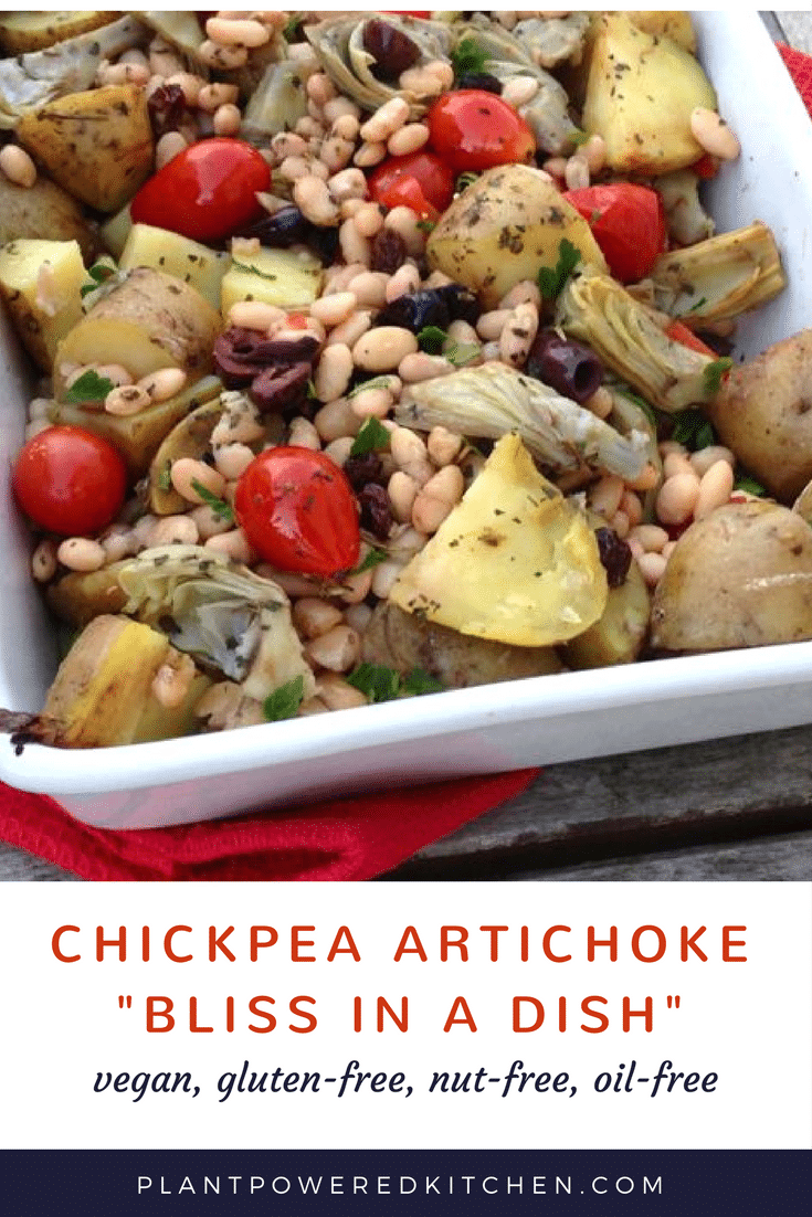 "Chickpea Artichoke ""BLISS IN A DISH"" - HOT recipe from Let Them Eat Vegan by Dreena Burton plantpoweredkitchen.com"