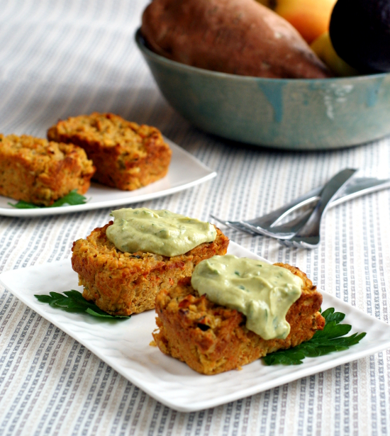 Individual Veggie Lentil Loaves with Avocado Tahini Sauce by Ricki Heller
