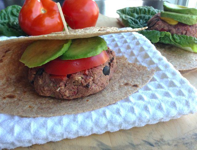 Mediterranean Bean Burgers on whole-grain tortilla
