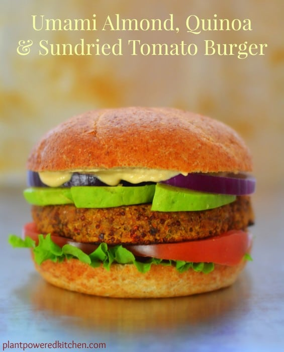 Umami Almond, Quinoa, and Sun-Dried Tomato Burger by Dreena Burton #vegan #glutenfree
