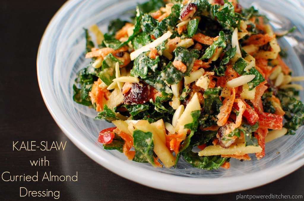 Kale-Slaw with Creamy Curried Almond Dressing by Dreena Burton - #vegan #soyfree #glutenfree