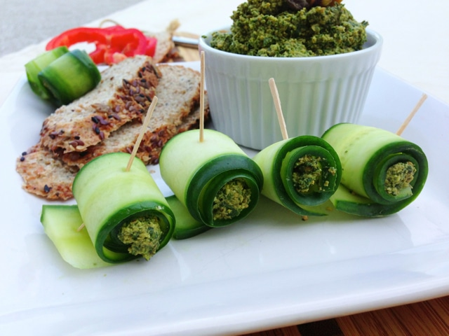 Cucumber Rolls with Spinach Herb Pistachio Pesto