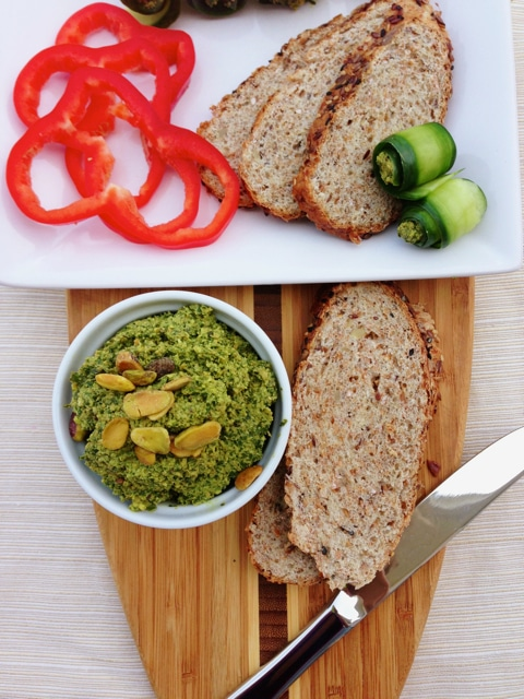 Spinach Herb Pistachio Pesto from Let Them Eat Vegan