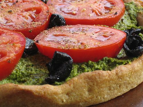 Pizza with Fresh Herb Pesto!