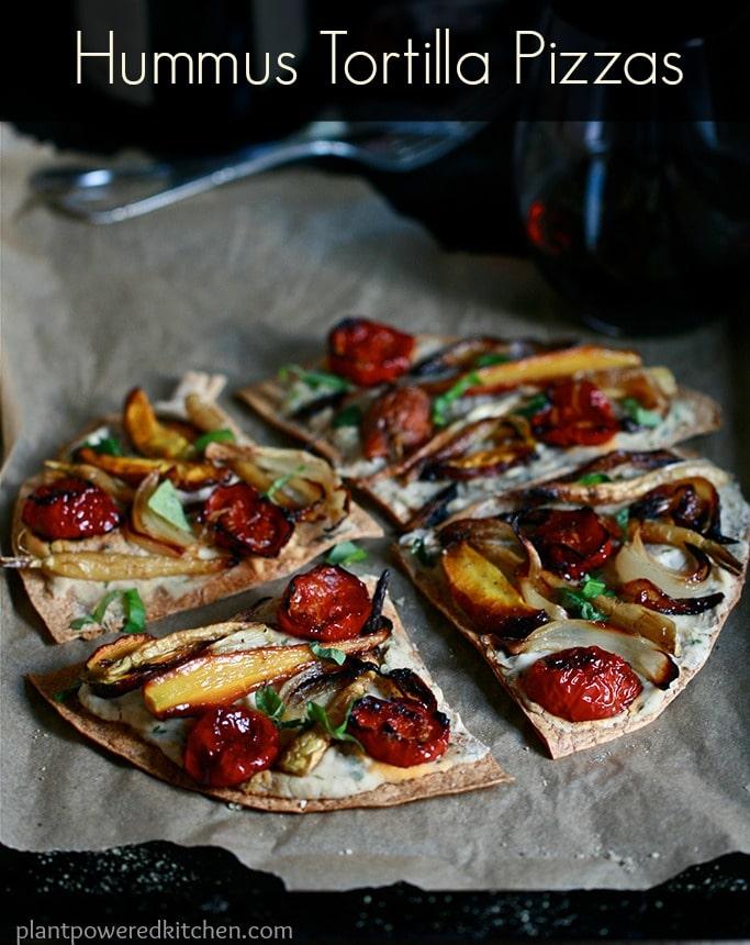 Hummus Tortilla Pizza #vegan #plantbased #WFPB #pizza #dairyfree www.plantpoweredkitchen.com