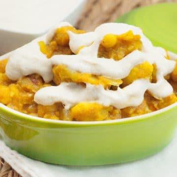 Pumpkin Chickpea Cauliflower Curry with Fresh Cream Sauce from 'Let Them Eat Vegan' by Dreena Burton, plantpoweredkitchen.com