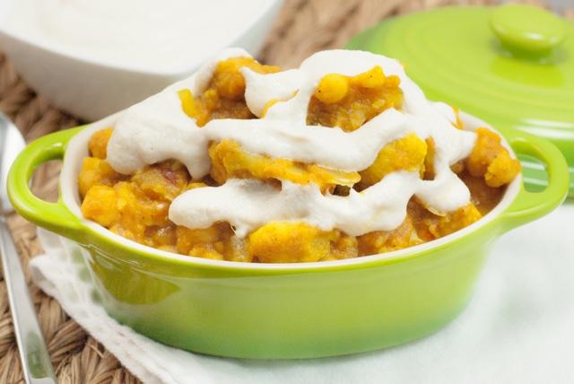 Pumpkin Cauliflower Chickpea Curry with Fresh Cream Sauce. From 'Let Them Eat Vegan' by Dreena Burton.