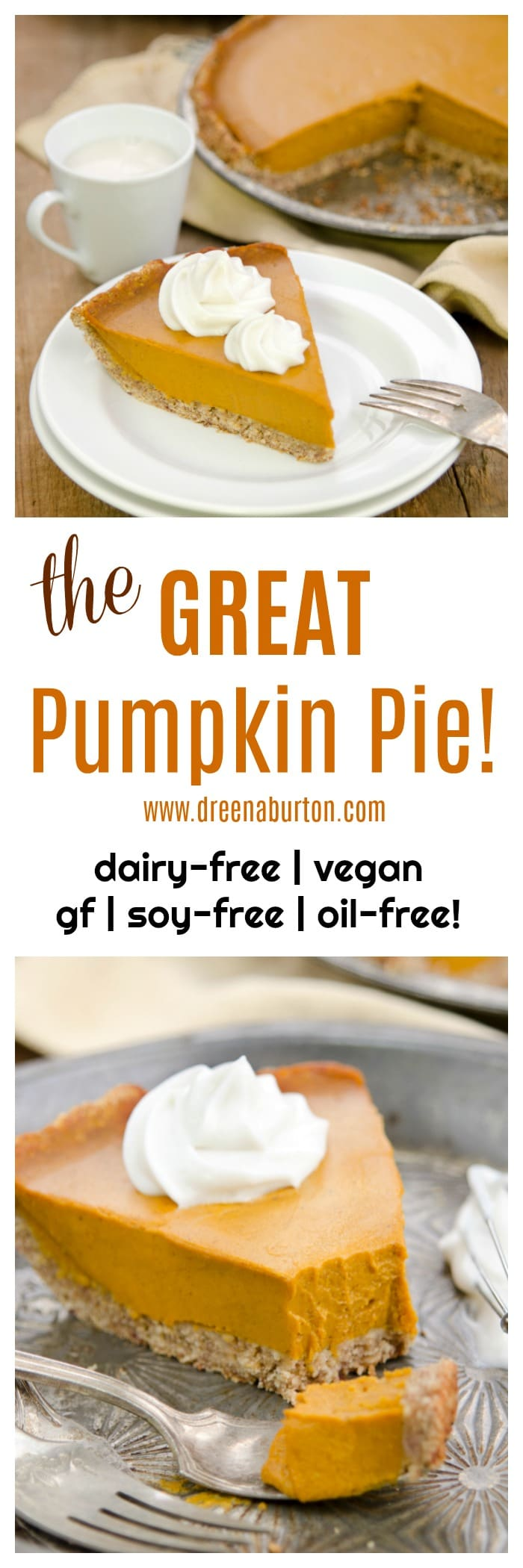 The GREAT Vegan Pumpkin Pie! This is it, the ultimate vegan pumpkin pie - made without vegan cream substitutes, NO oil, NO gluten, NO soy. It's easy and scrumptious!