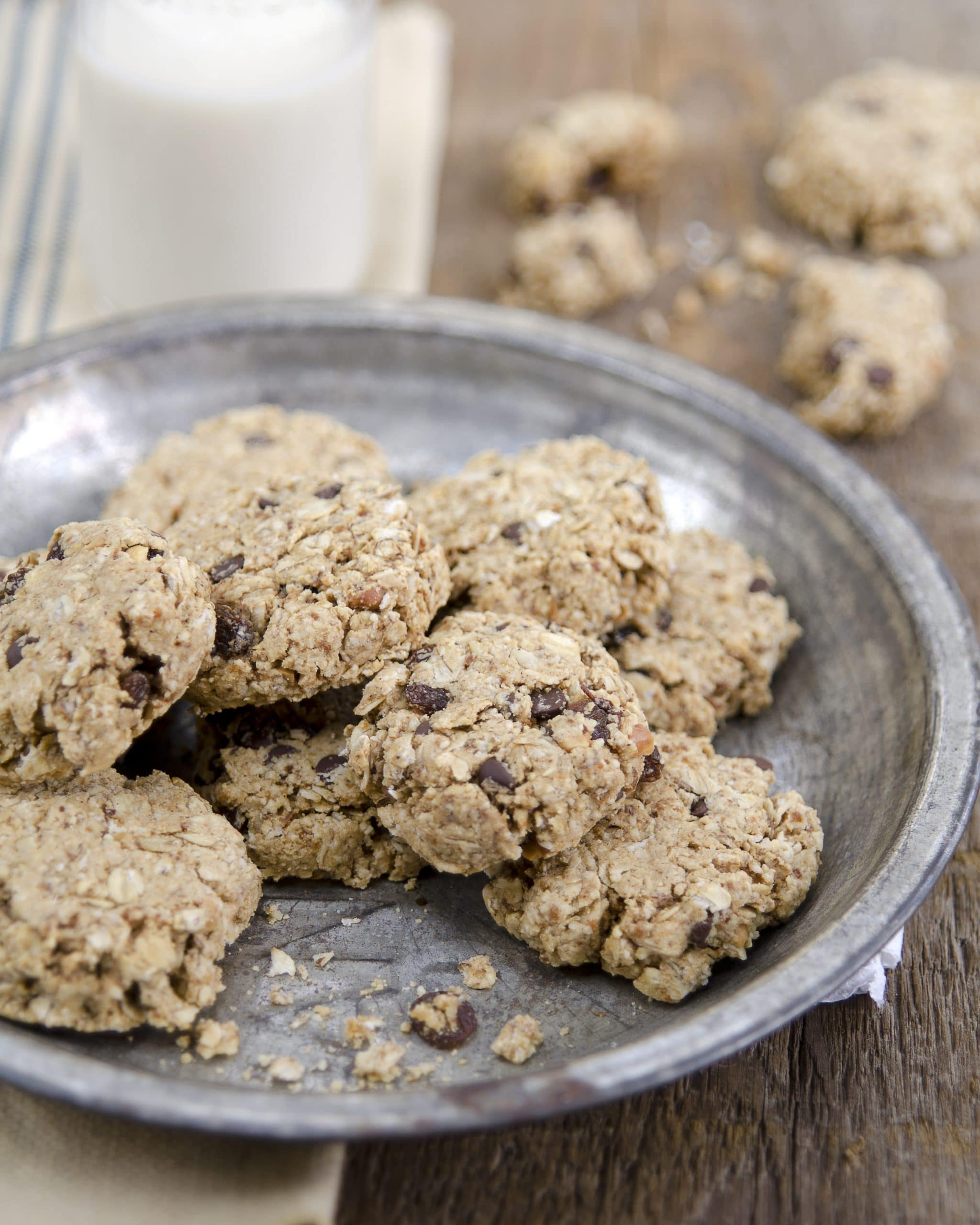 plate filled with vegan oatmeal peanut butter cookies