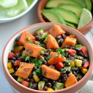 Smoky Sweet Potato Salad with Black Beans (vegan, oil-free, gluten-free, nut-free, soy-free)