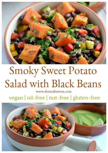 Smoky Sweet Potato Salad with Black Beans #vegan #glutenfree #nutfree #oilfree #plantbased #wfpb #soyfree #recipe #salad #cleaneating
