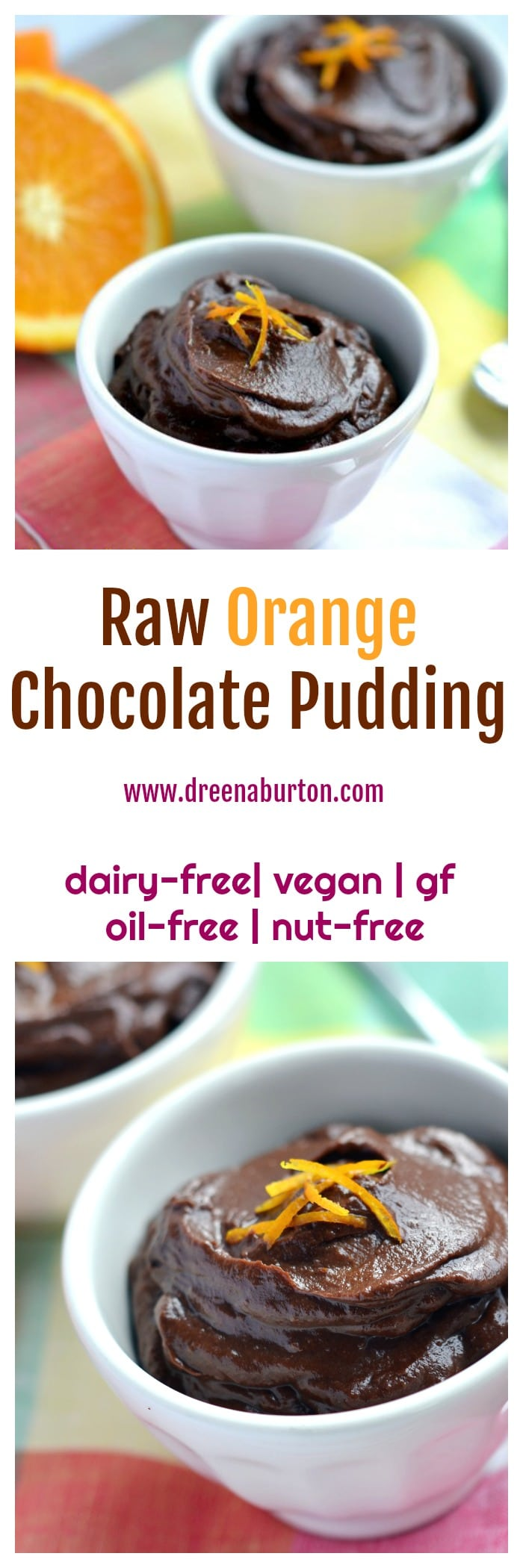Raw Orange Chocolate Pudding! Make in MINUTES! No added sugar, vegan and oil-free, nut-free and gluten-free. Delicious!