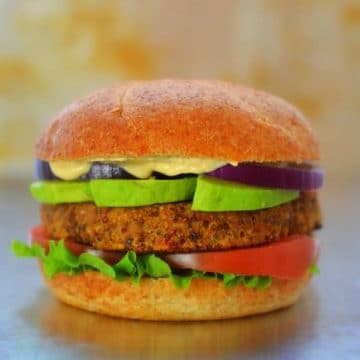Umami Almond, Quinoa and Sun-dried Tomato Burger