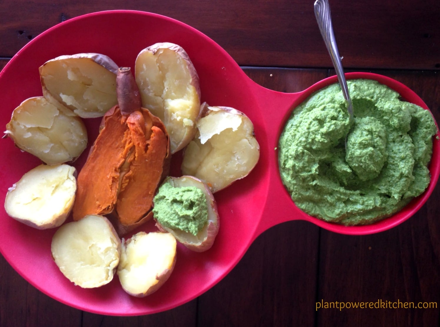 Edamame Dip on Baked Potatoes and Sweet Potatoes