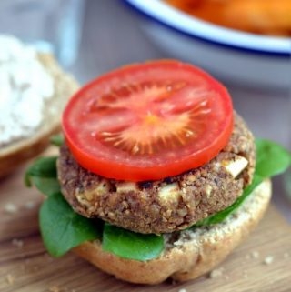 "Lentil Walnut Burgers with ""Almonnaise"" (vegan, dairy-free, oil-free)"