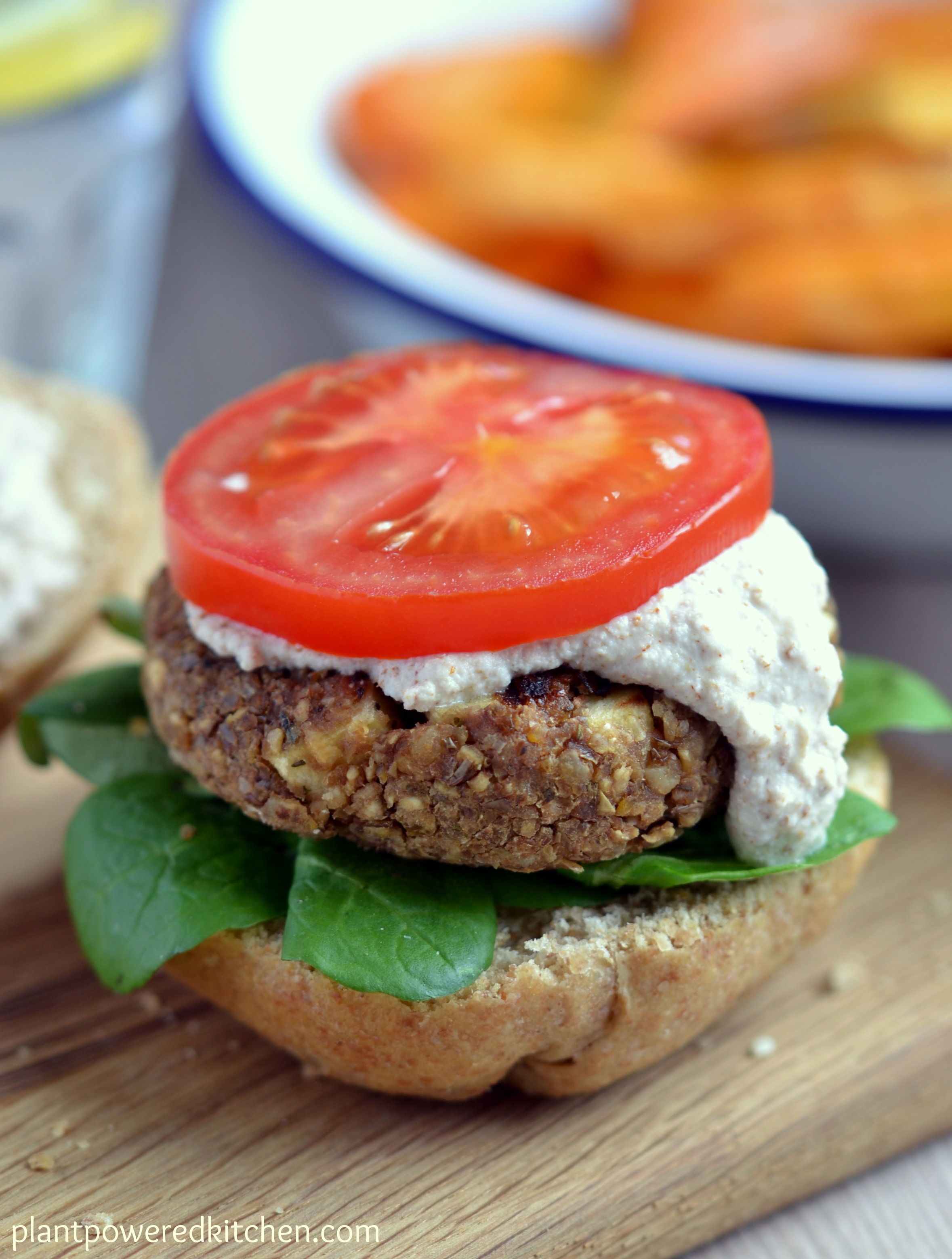 "Lentil Walnut Burgers with ""Almonnaise"""