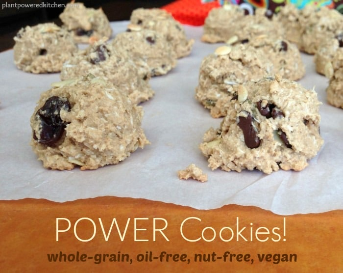 POWER Cookies! A whole-grain cookie that's also #vegan #nutfree #glutenfree and #oilfree. Perfect for school lunches! www.plantpoweredkitchen.com