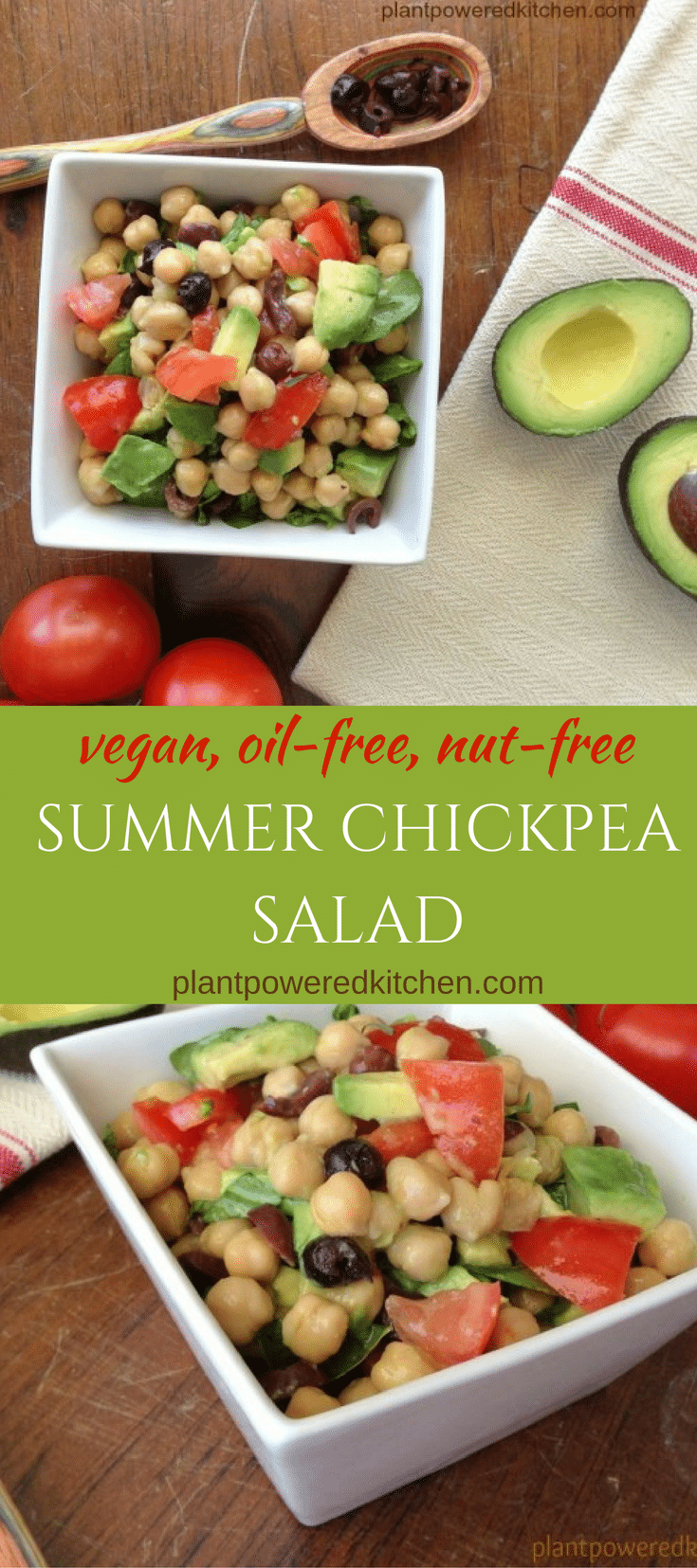 SUMMER CHICKPEA SALAD! Delicious, easy, breezy! Vegan, nut-free, gluten-free, and oil-free. By Dreena Burton, plantpoweredkitchen.com