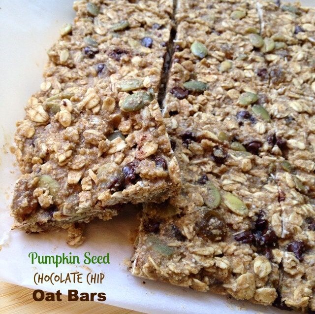 Pumpkin Seed Chocolate Chip Oat Bars by Dreena Burton, #vegan #glutenfree #oilfree