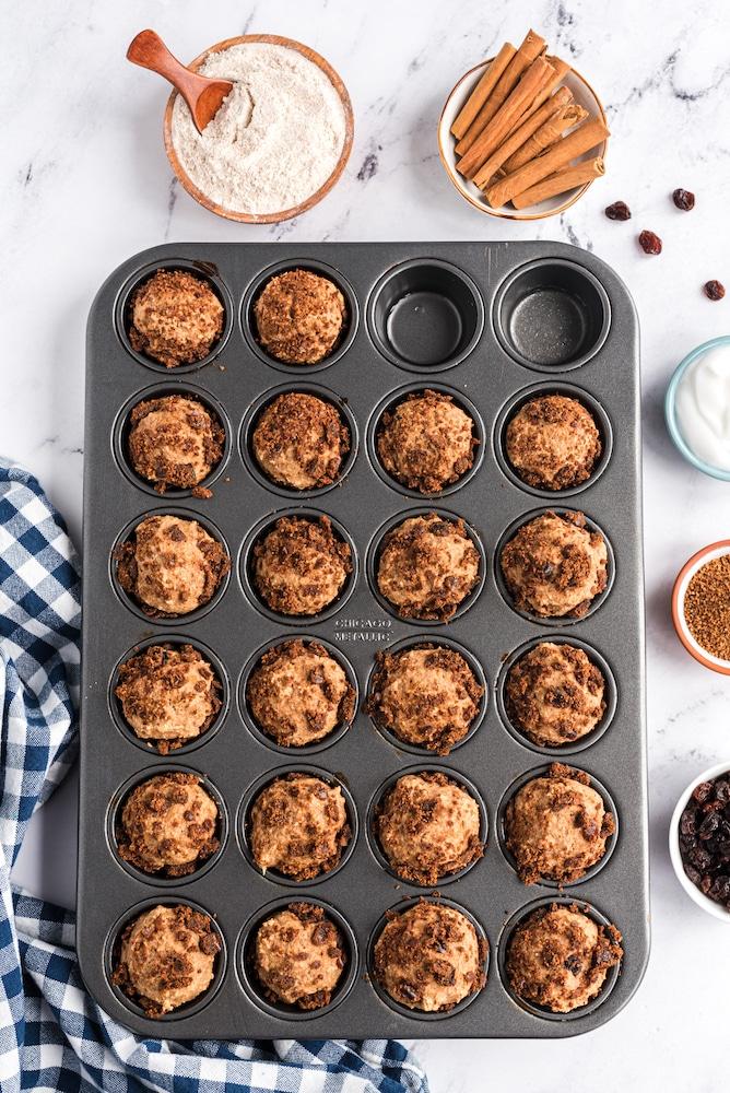 Cinnamon Bun Muffins in pan