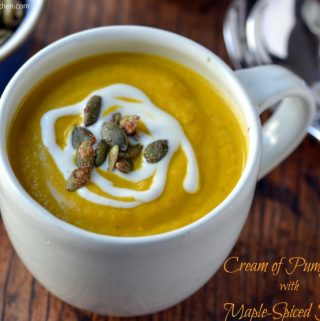 Cream of Pumpkin Soup with Maple-Spiced Pepitas (dairy-free, vegan, oil-free, gluten-free)
