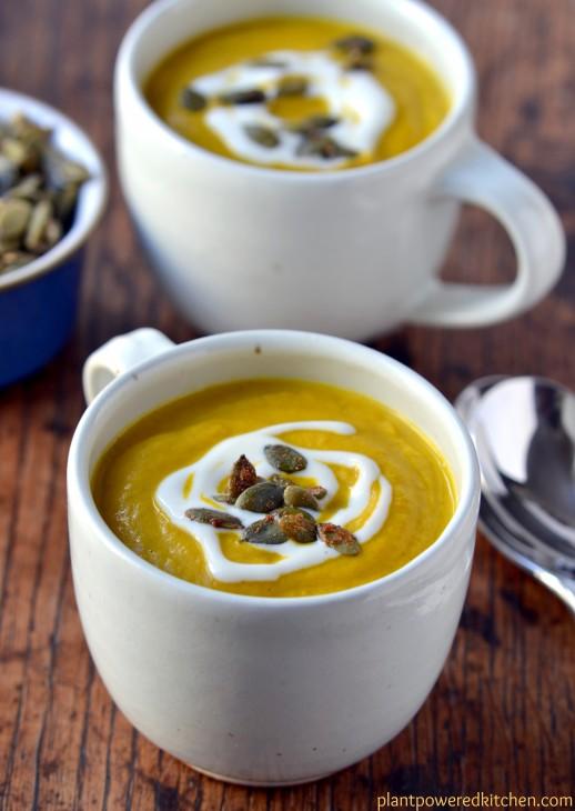 Cream of Pumpkin Soup with Maple Spiced Pepitas, by Dreena Burton, Plant-Powered Kitchen #vegan #glutenfree #soyfree #oilfree
