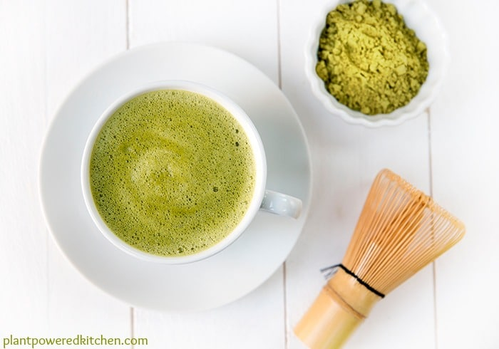 Matcha Green Tea Latte #vegan #dairyfree #glutenfree - by Dreena Burton