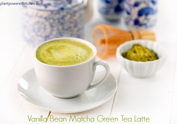 Vanilla Bean Matcha Green Tea Latte #vegan #dairyfree #glutenfree by Dreena Burton