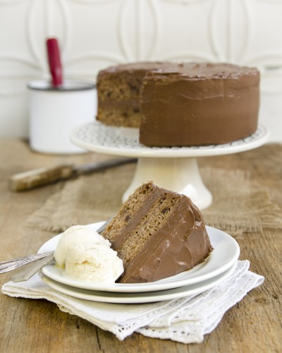 Banana Chocolate Chip Cake with Chocolate Mousse Frosting from bonus Plant-Powered Families ebooks by Dreena Burton