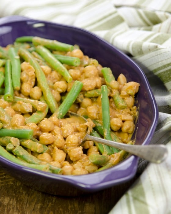 "Saucy BBQ Chickpeas and Green Beans from ""Plant-Powered Families"""
