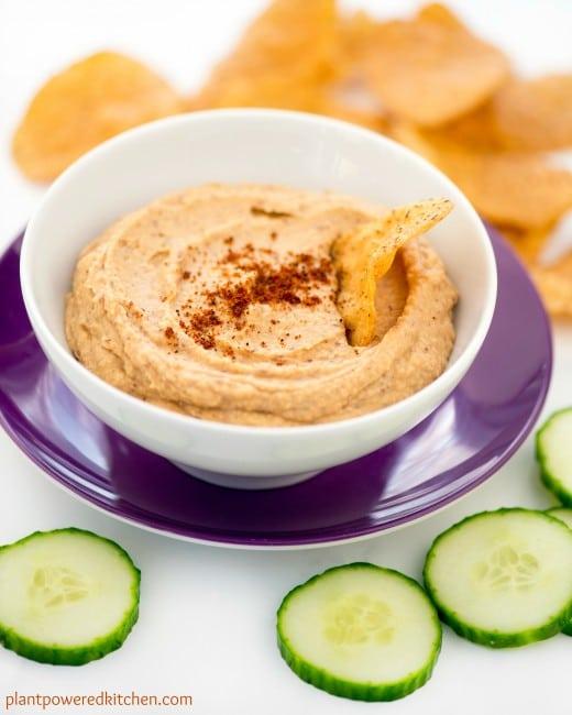 Spiced Sweet Potato Hummus | healthy hummus recipes | vegan hummus recipes | nut-free hummus recipes | gluten free hummus recipes | vegan appetizer recipes | gluten free appetizer recipes | vegan dip recipes | gluten free dip recipes || Plant Powered Kitchen