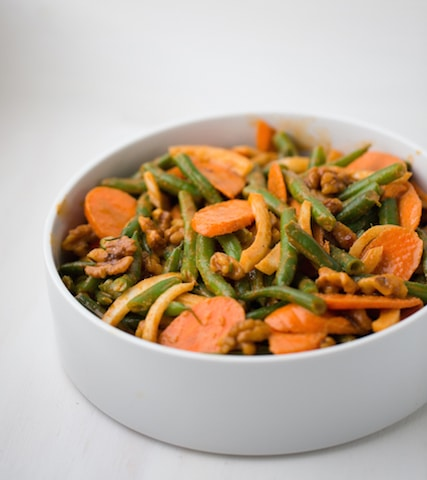 "Smoky Paprika Green Bean Salad with Candied Walnuts - from ""Healthy Happy Vegan Kitchen"" by Kathy Patalsky"