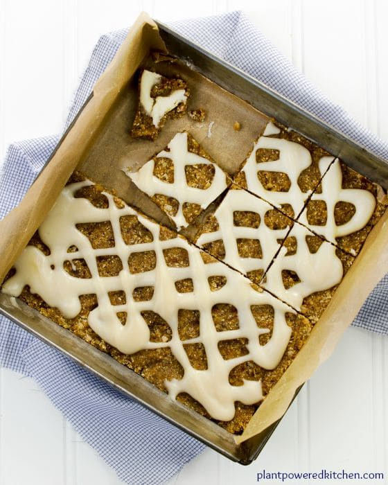 Pumpkin-Spice Bars with Maple Drizzle Frosting #vegan #nutfree #wfpb #dairyfree #glutenfree www.plantpoweredkitchen.com