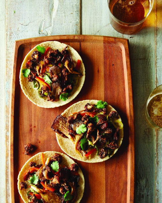 Cauliflower and Oyster Mushroom Tacos from Food 52 Vegan cookbook #vegan