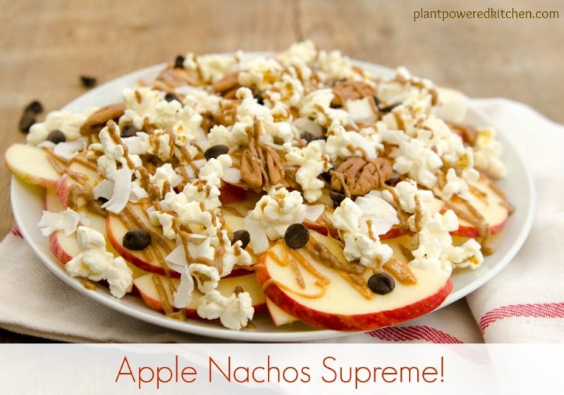Apple Nachos Supreme! #vegan #glutenfree #soyfree #wfpb #plantbased #oilfree #dairyfree #healthy #snacks www.plantpoweredkitchen.com