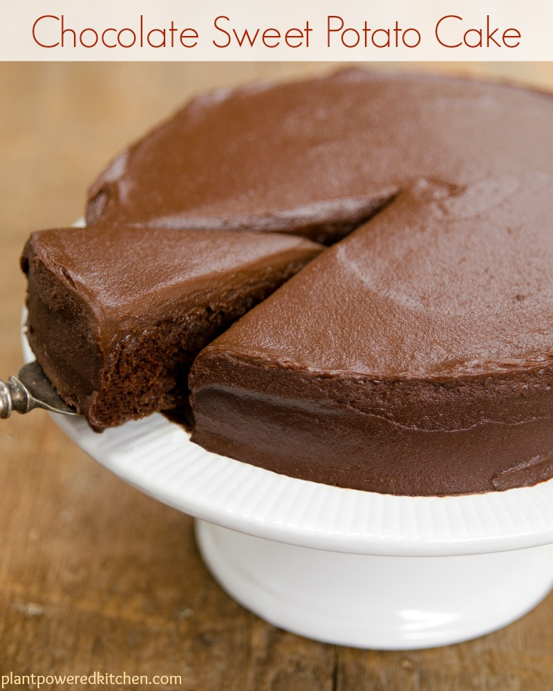 Chocolate Sweet Potato Cake with Chocolate Sweets Frosting #vegan #dairyfree #cake #dessert #chocolate #oilfree #plantbased www.plantpoweredkitchen.com