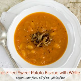 Balsamic-Sauteed Sweet Potato Bisque with White Beans
