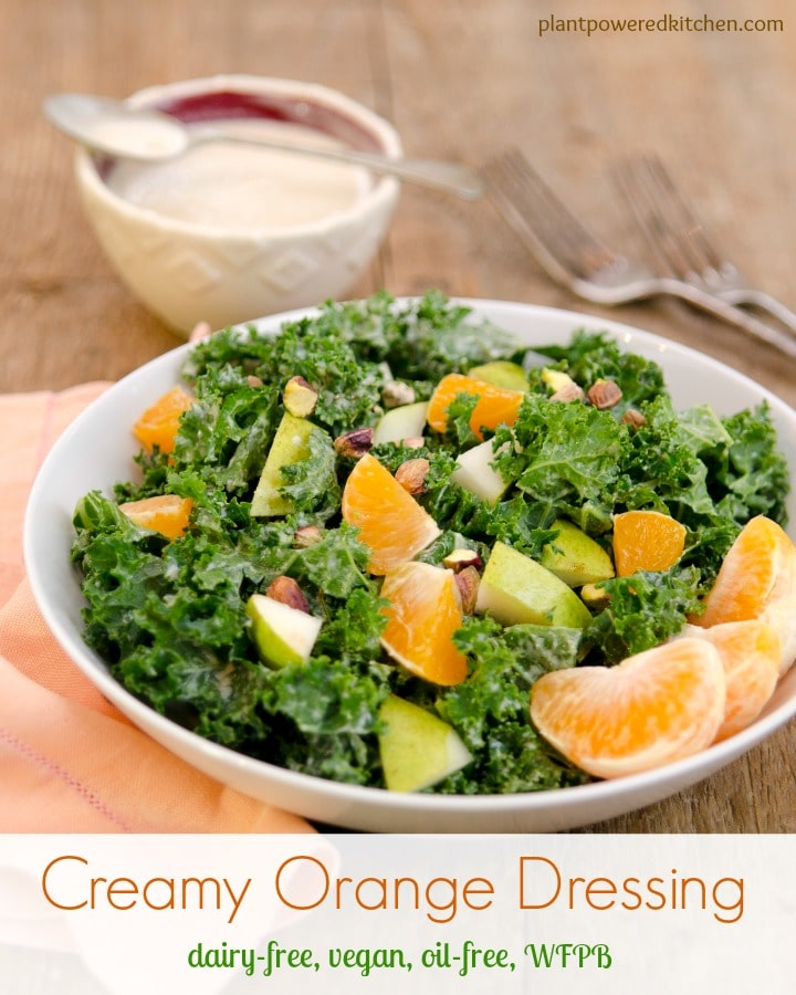 Creamy Orange Salad Dressing #dairyfree #vegan #oilfree #glutenfree #healthy #salads www.plantpoweredkitchen.com