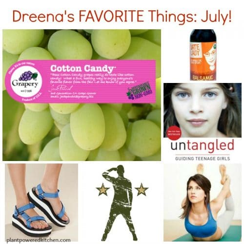 Dreena's Favorite Things! July feature www.plantpoweredktitchen.com With goodies from @teva @graperygrapes @sarahbethyoga @datesyrup #fitness #yoga #health #youtube #vegan #plantbased