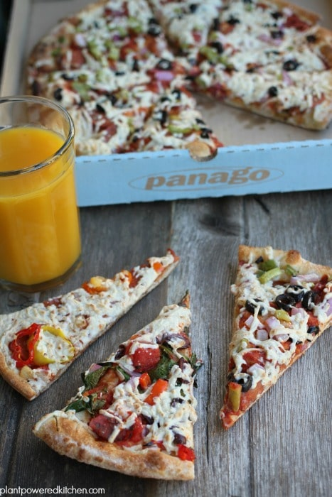 Panago Vegan Pizzas! plus organic juice - enter giveaway plantpoweredkitchen.com #vegan