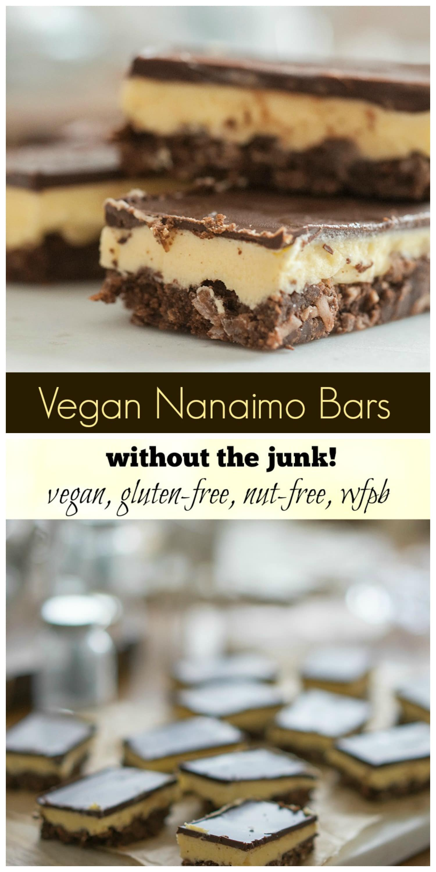 Vegan Nanaimo Bars (without the junk!) vegan, gluten-free, nut-free